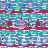 Árbol de navidad, santa y muñeco de nieve Imagen de archivo