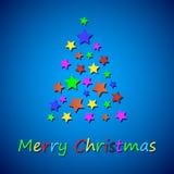 Árbol de navidad simple del color de las estrellas Foto de archivo