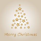 Árbol de navidad simple del oro de las estrellas Imagen de archivo