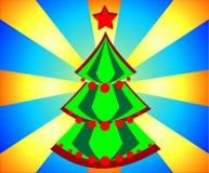 Árbol de navidad Tarjeta del día de fiesta en las luces del fondo libre illustration
