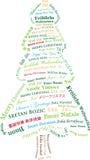 Árbol de navidad textual multilingüe Fotos de archivo libres de regalías