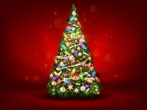 Árbol de navidad verde abstracto en fondo rojo EPS 10 Fotos de archivo