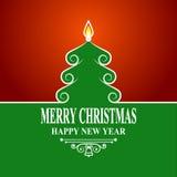 Árbol de navidad verde abstracto en fondo rojo Tarjeta de las decoraciones del día de fiesta del saludo de la Feliz Navidad y del Imágenes de archivo libres de regalías