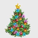 Árbol de navidad verde con la estrella, la bola y la guirnalda Imagen de archivo libre de regalías