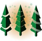 Árbol de navidad verde isométrico con vector de los copos de nieve stock de ilustración