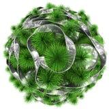 Árbol de navidad - visión superior - adornado con la bola de plata de la Navidad Imagen de archivo