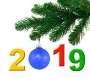 Árbol de navidad y 2019 fotografía de archivo libre de regalías