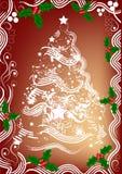 Árbol de navidad y acebo   stock de ilustración