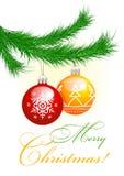 Árbol de navidad y bolas stock de ilustración