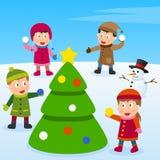 Árbol de navidad y cabritos stock de ilustración