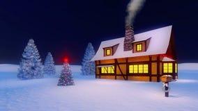 Árbol de navidad y casa adornados en fondo azul marino Fotografía de archivo libre de regalías