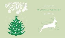 Árbol de navidad y ciervos Fondo para la tarjeta de felicitación Fotos de archivo