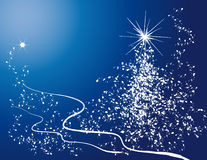 Árbol de navidad y copo de nieve Fotos de archivo