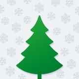 Árbol de navidad y copos de nieve Imagenes de archivo