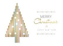 Árbol de navidad y diseño del Año Nuevo en color oro Foto de archivo libre de regalías