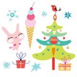 Árbol de navidad y el helado del conejito libre illustration