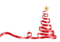 Árbol de navidad y estrella rojos de la cinta en el vector blanco Fotografía de archivo