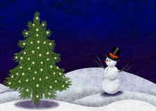 Árbol de navidad y muñeco de nieve Fotos de archivo