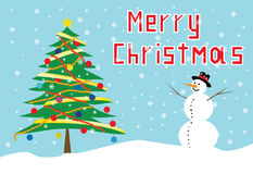 Árbol de navidad y muñeco de nieve Fotos de archivo libres de regalías