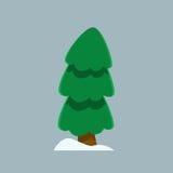 Árbol de navidad y nieve en estilo plano simple Imagenes de archivo
