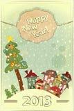 Árbol de navidad y pequeñas casas Fotos de archivo