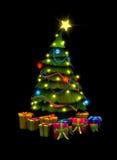 Árbol de navidad y presentes Fotografía de archivo