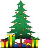 Árbol de navidad y presentes libre illustration