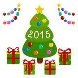 Árbol de navidad y presentes adornados Imagen de archivo libre de regalías
