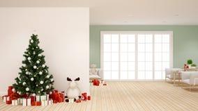 Árbol de navidad y regalo en la sala de estar - ilustraciones para el día de la Navidad - representación 3D ilustración del vector