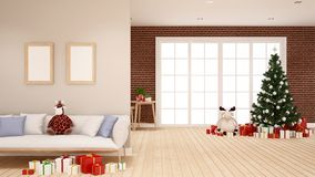 Árbol de navidad y regalo en la sala de estar - ilustraciones para el día de la Navidad - representación 3D stock de ilustración