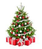Árbol de navidad y regalos, en rojo, blanco y plata imágenes de archivo libres de regalías