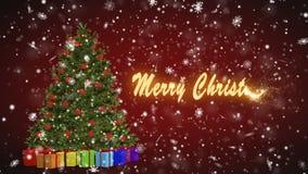Árbol de navidad y regalos que giran en un fondo rojo Feliz Navidad y Feliz Año Nuevo de los copos de nieve en un rojo stock de ilustración