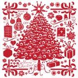 Árbol de navidad y símbolos libre illustration