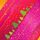 Árbol de navidad y snowflaks stock de ilustración