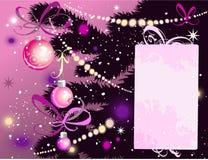 Árbol de navidad y tarjeta stock de ilustración