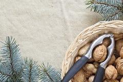 Árbol de navidad y tuercas fotos de archivo libres de regalías