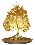 Árbol de oro con las monedas Foto de archivo libre de regalías