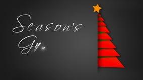 Árbol de papel rojo 4K de los saludos del despliegue Season's ilustración del vector
