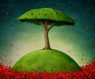 Árbol de paraguas stock de ilustración