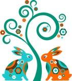 Árbol de Pascua con los conejitos ilustración del vector