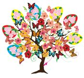 Árbol de Pascua del vector con las flores ilustración del vector