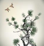 Árbol de pino del estilo de la tinta Fotos de archivo
