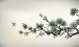 Árbol de pino del estilo de la tinta Fotografía de archivo libre de regalías