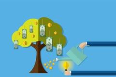 Árbol de riego del dinero con las monedas y la idea del parte movible, concepto de la inversión Foto de archivo