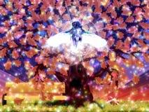 Árbol de roble de la fantasía y buho azul Imagen de archivo libre de regalías
