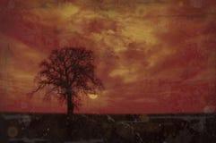 Árbol de roble del invierno de Grunge stock de ilustración