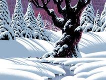 Árbol de roble en invierno ilustración del vector