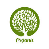 Árbol decorativo abstracto con las hojas Etiqueta de la ecología, natural, orgánica o logotipo Ilustración del vector libre illustration