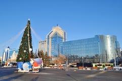 Árbol del Año Nuevo contra los edificios del instituto de investigación científica de Tyumen Foto de archivo libre de regalías