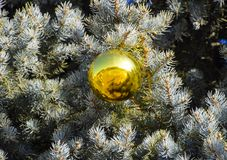 Árbol del Año Nuevo de las decoraciones Malla y juguetes, bolas y otras decoraciones en el árbol de navidad de la Navidad que se  Fotos de archivo